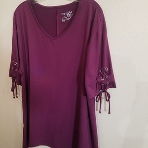 Terra & Sky Purple Tunic Top wIth Laces 0n Sleeves